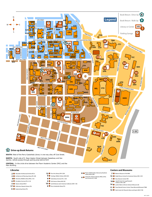 Library map with parking and building locations