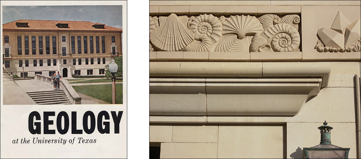 Geology Building B and shell frieze