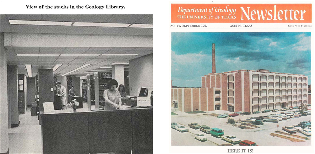 Geology Library stacks (left) and new Geology Building (right)