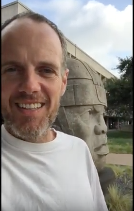 "Photo: Patrick Timmons with the Olmec head, ""El Rey"""