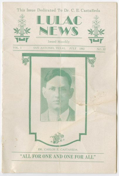 Cover of a 1932 issue of LULAC News that was dedicated to Castañeda