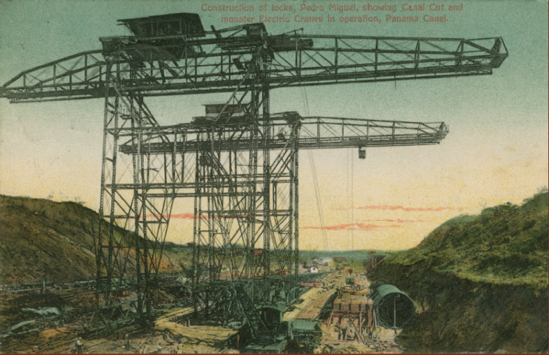 Postcard depicting excavation of the Panama Canal. Benson Latin American Collection.
