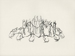 charcoal drawing of figures dancing