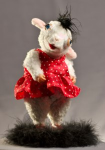 sheep doll in red dress