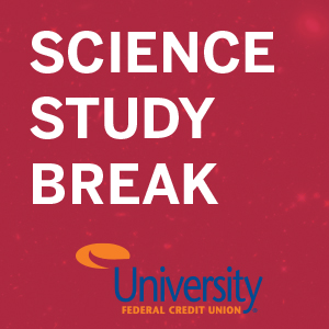 science study break white text on maroon background