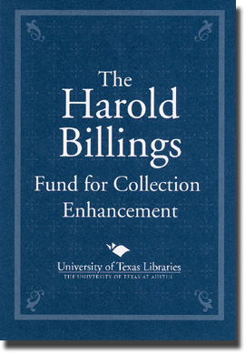 Harold Billings Fund for Collection Enhancement bookplate