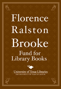 Florence Ralston Brooke Fund bookplate