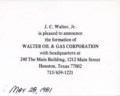 Walter Oil and Gas announcement