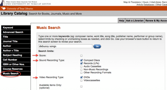 Music Search page of UT Library Catalog