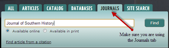 search for the journal by title using the journals tab