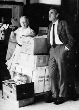 John W. F. Dulles and Nettie Lee Benson with newly arrived archives from Brazil